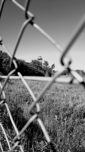 Chainlink Fence Day No People Outdoors Sky Tree Grass Close-up Nature Photography Hungarian Border Steel Migration Migrating Fence Wire Fence Border Tower Watchtower Blackandwhite Lookout Tower