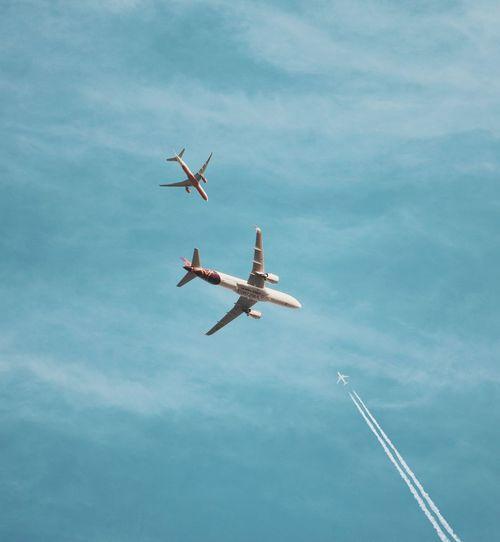 Three planes Sky Blue Aeroplane Three Cloud - Sky