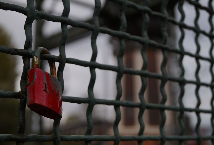 Focus On Foreground Lock Love Metal No People Outdoors Red Red