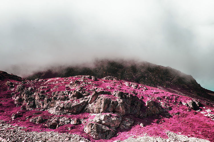 A view of beautiful landscape and rocks in a foggy day in the alps switzerland in color infrared Color Spectrum Infrared Weather Beauty In Nature Cloud - Sky Day Foggy Geology Infrared Photography Landscape Mountain Nature No People Outdoors Physical Geography Power In Nature Rocks Scenics Sky Space Tranquility Ultraviolet The Great Outdoors - 2018 EyeEm Awards