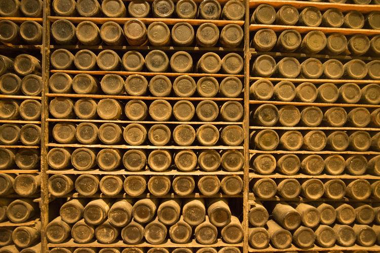 Full frame shot of bottles on shelves