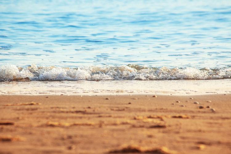 Surface level of beach against sea