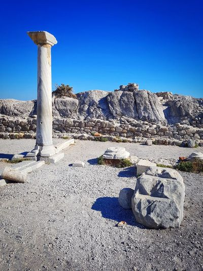 classical ruins Ruins Ancient Ancient Ruins Ancient Architecture Capitel Column Columns Columns And Pillars Greece GREECE ♥♥ Greece Photos Greece Islands Ancient Greek Ancient Temple Kos, Greece Blue Sky Mediterranean Architecture Culture Clear Sky Blue Sunlight