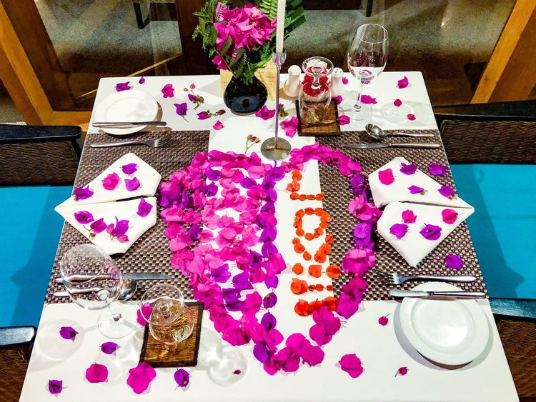 Decoration Flower Love High Angle View Indoors  Table Variation No People Textile Multi Colored Day Flower Close-up Freshness