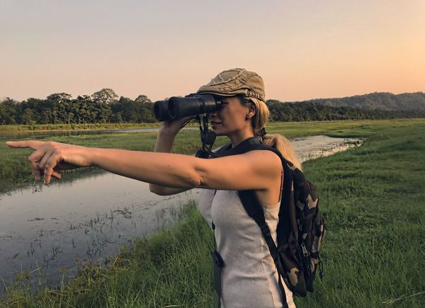 Field One Person Nature Standing Landscape Grass Outdoors Lifestyles Leisure Activity Young Adult Scenics Women River Safari Safari Adventure Jungle Life Jungle Exploring Side View Binoculars Evening Nepal Tranquility