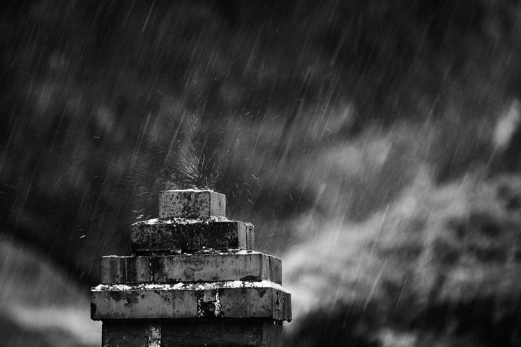 Close-Up Of Pedestal During Rainfall