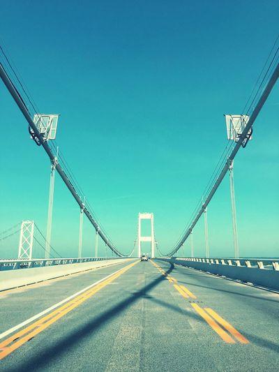 View Of Bridge Against Clear Blue Sky