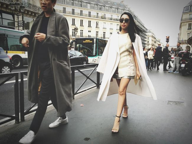 A Fashionista arrives at the STELLA McCARTNEY Fashion Show at Paris Fashion Week SS16 shot on IPhone 6s