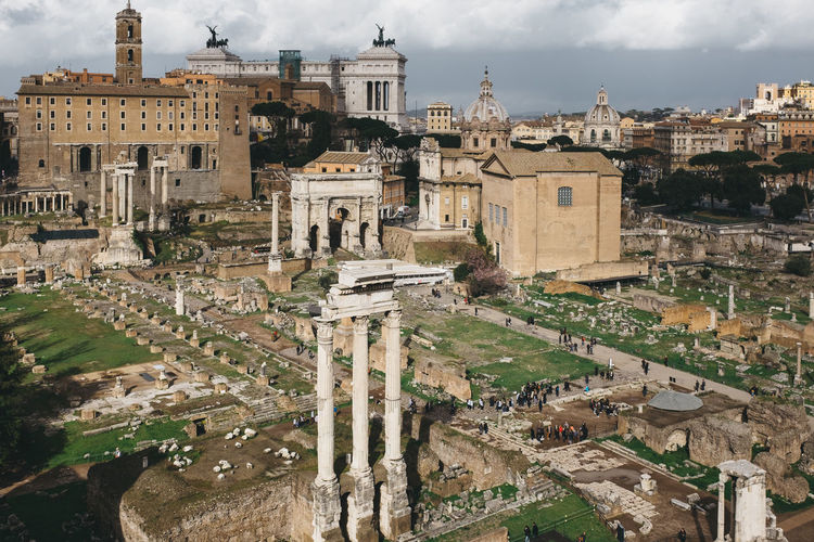 Roman forum in town against sky