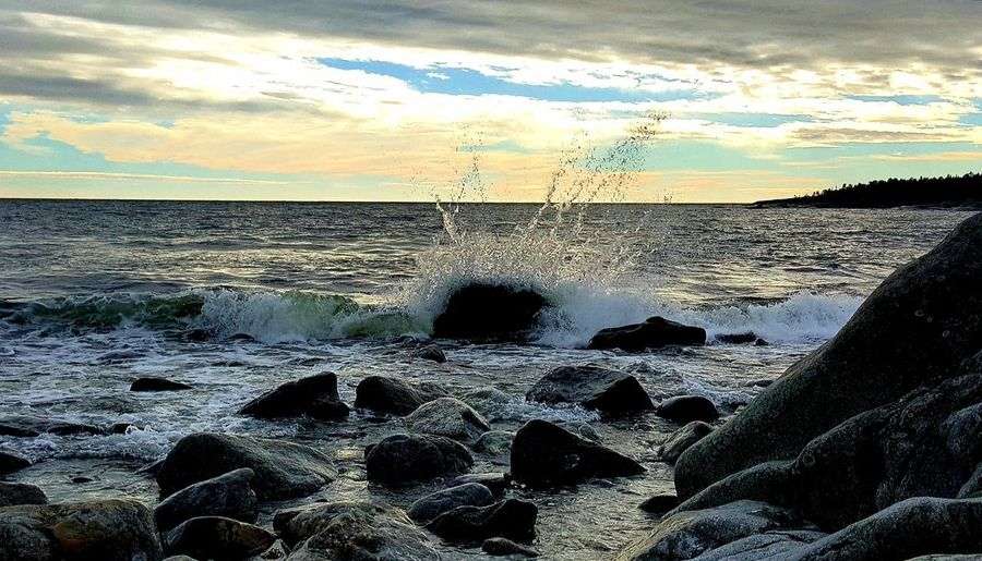 autumn by the ocean Harmony With Nature Nature Photography Swedish Nature Högakusten High Coast Autumn Storm Tranquility Ocean Water Sea Sunset Beach Sand Sky Horizon Over Water Cloud - Sky Splashing Wave Power In Nature Autumn Mood