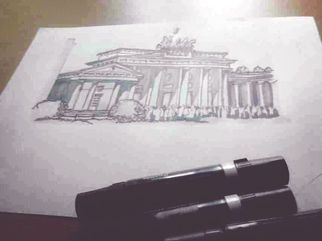 Rendered drawing. Medium: Kure color light grey and palm grey, techpen 0.5 Render Art Architecture Drawing