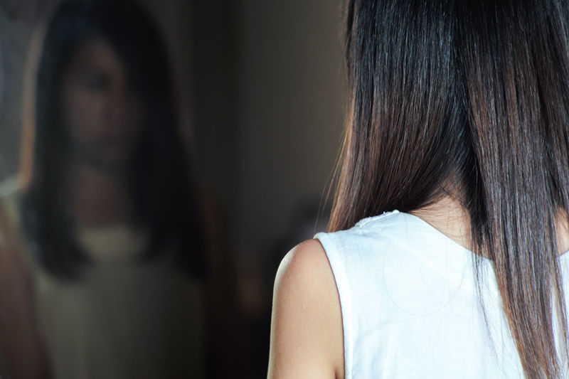 Rear view of woman in hair