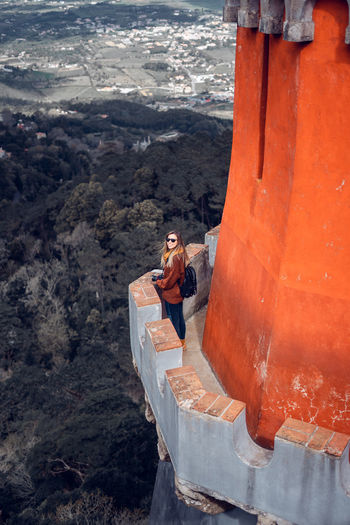 High angle view of woman standing on observation point