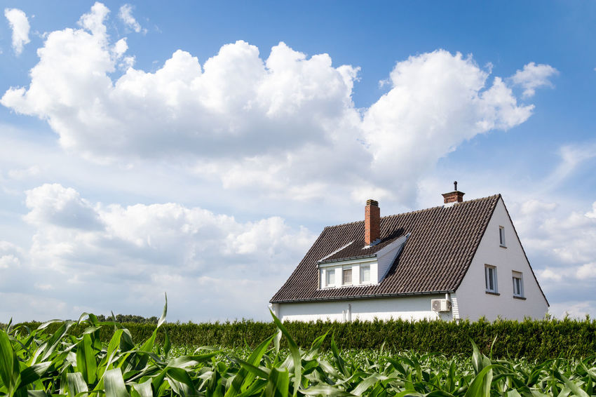 Flanders Fields Agriculture Architecture Building Building Exterior Built Structure Cloud - Sky Corn Corn Field Day Environment Field Fluffy Clouds Grass Green Color Growth House Land Landscape Nature No People Outdoors Plant Rural Scene Sky