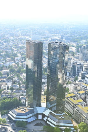 Cityscape Deutsche Bank Frankfurt Frankfurt Am Main Aerial View Architecture Building Building Exterior Built Structure City Cityscape Day Deutsche Bank Tower Financial District  High Angle View Modern Nature No People Office Building Exterior Outdoors Residential District Sky Skyscraper Tower Travel Destinations