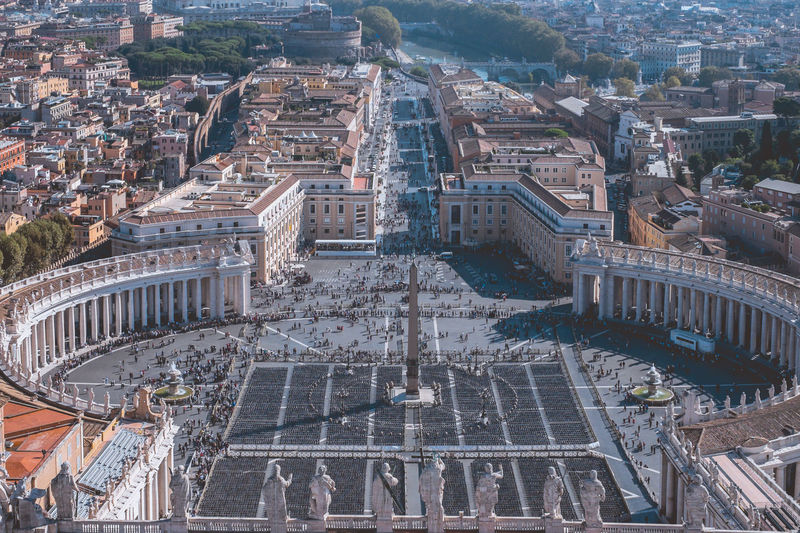 The stunning st. peter's square in the vatican city. view from the top of the dome of the basilica.