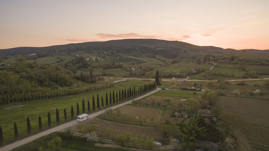 Drone  San Gimignano Tuscany Drone Photography High Angle View Italy Landscape Motorhome Nature Outdoors Sky