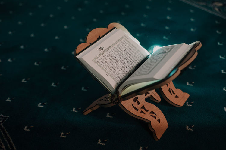 High angle view of book on table