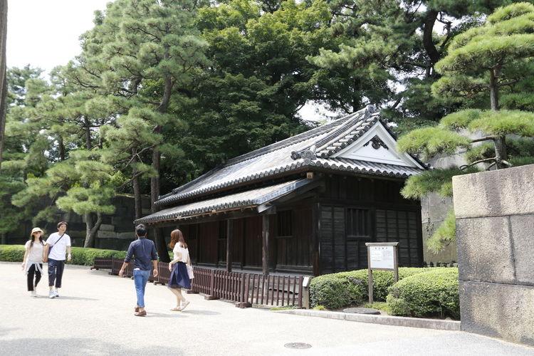 People walking outside temple