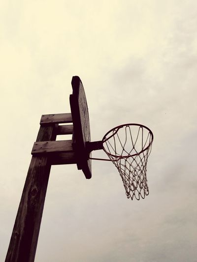 Cloud - Sky Sky Day Outdoors Wood - Material Low Angle View No People Sport Nature Basketball Basketball Hoop Basketball Net
