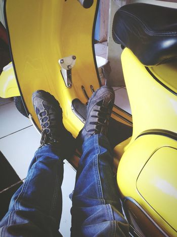 Xperiaphotography Capturing Freedom Xperiat2 Motorcycle Vespa Feetselfie Relaxing Time Yellow