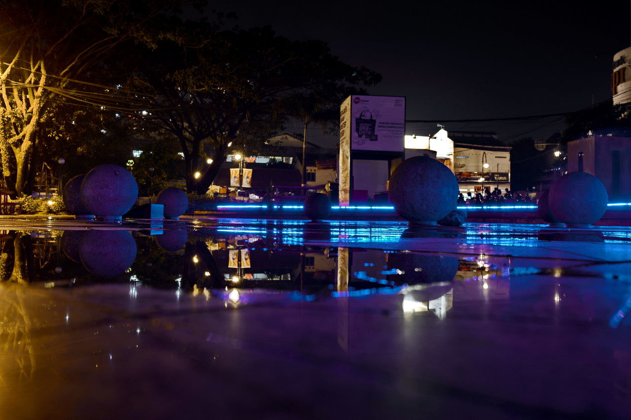 illuminated, reflection, night, water, swimming pool, waterfront, ball, outdoors, blue, sport, no people, building exterior, architecture, city, sky, ice rink