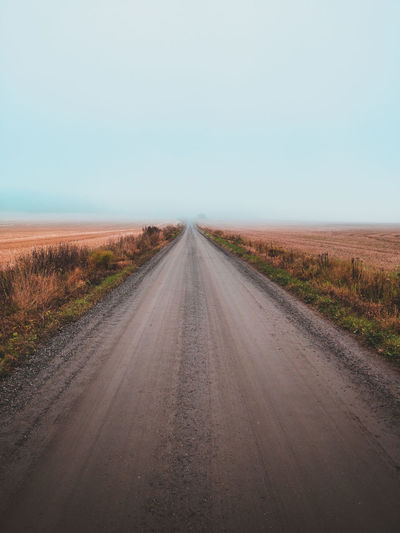 Road Landscape Nature Outdoors Clear Sky Horizon Foggy Fog Rural Scene No People Finland Sweden Street Natureporn Naturephotography Norway Europe Field Mist Gravel First Eyeem Photo