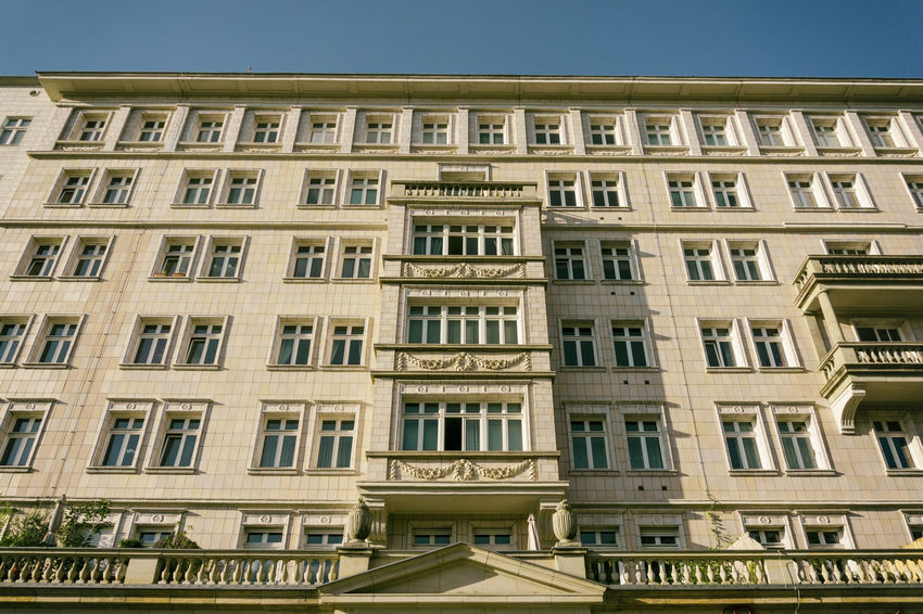 Architecture near Frankfurter Tor, formerly known as Stalin Allee during the period of socialist German Democratic Republic Berlin Façade GDR German Democratic Republic Germany 🇩🇪 Deutschland Stalin Allee Architecture Building Exterior Built Structure City Day Façade History Low Angle View No People Outdoors Residential Building Sky Socialism Window