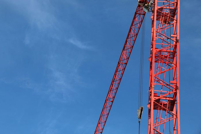 Red Crane Blue Sky EyeEm Selects Construction Site Metal Crane - Construction Machinery Business Finance And Industry Cloud - Sky Construction Frame Blue Sky No People Day Outdoors Business Stories Modern Workplace Culture