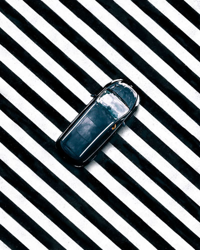 High angle view of car on table