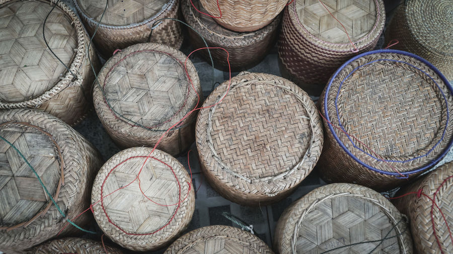 High Angle View Of Wicker Containers For Sale