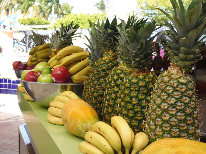 ~The Pineapple Crowns~ Bayside Marketplace Bayside Miami FRUIT MEDLEY Fruit Stand Small Business Susan A. Case Sabir Tropical Fruits Unretouched Photography Arrangement Banana Bananas Colorful Display Crowns Food For Sale Fresh Fruit Healthy Eating No People Papaya Pineapple Pineapples Restaurant Tropical Fruit Variation