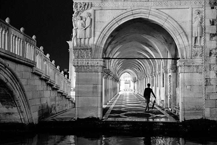 Rear view of man standing at archway of historic building