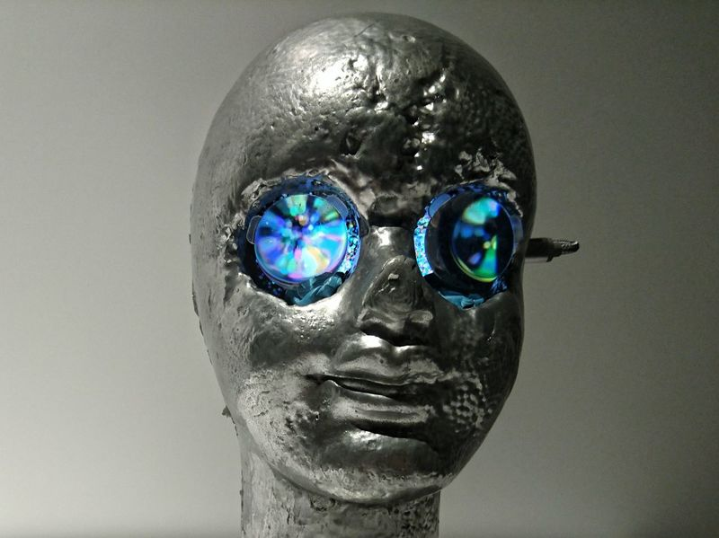 Looking Through Pixie Dust. Art Installation Yoichi Ochiai Sculpture Close-up Human Face Eyes Watching You Hypnotize Me Illusion Confusion. ISETAN Kuala Lumpur