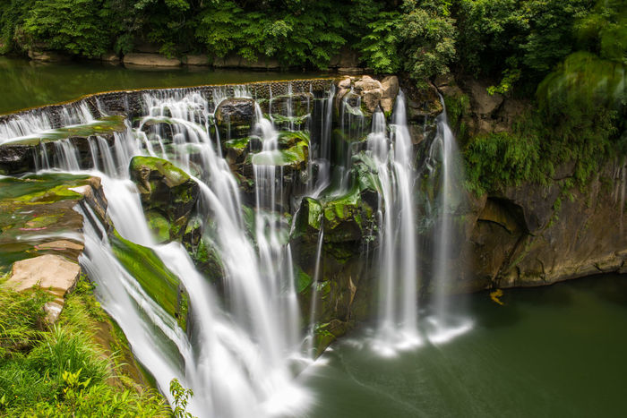 Beauty In Nature Blurred Motion Environment Falling Water Flowing Flowing Water Forest Land Long Exposure Motion Nature No People Outdoors Plant Power In Nature Rainforest Rock Rock - Object Scenics - Nature Solid Tree Water Waterfall 十分 十分瀑布 瀑布 長曝
