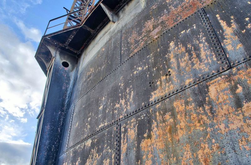 Athens Greece Gazi, Industrial museum Low Angle View Sky Architecture Cloud - Sky Built Structure Day No People Metal Nature Rusty Weathered Outdoors Transportation Building Exterior Old Mode Of Transportation Abandoned Run-down Ship Obsolete