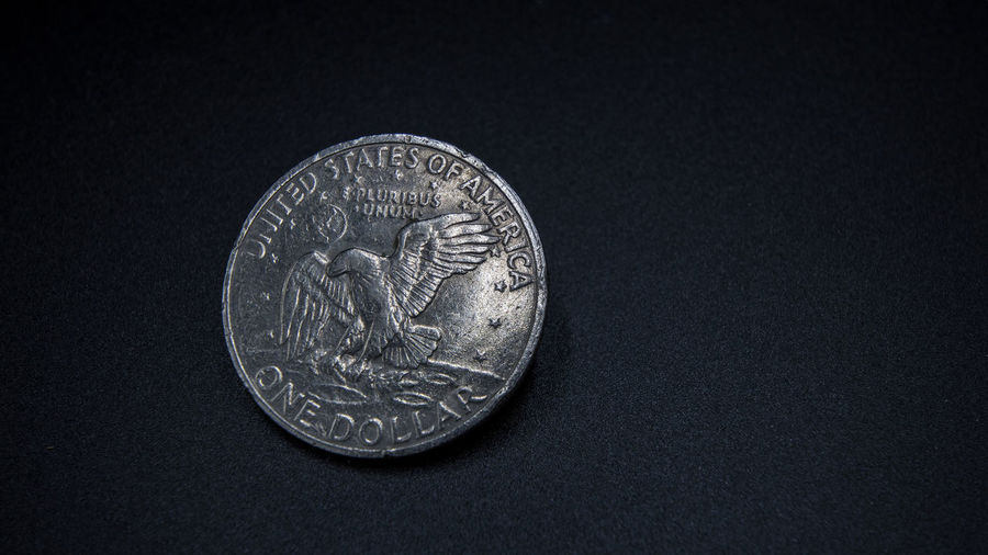Finance Currency Coin Business Wealth Single Object Representation Studio Shot Savings Metal Close-up Circle Geometric Shape No People Text Indoors  Investment Animal Representation Shape Still Life Economy Black Background Silver Colored