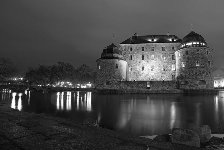 Castle B&W Architecture Historic History Night No People Outdoors The Past Water