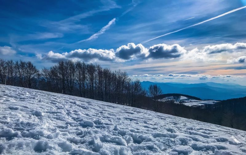 Snow Nature Sun Beauty In Nature Beautiful Sky Winter Snow Cold Temperature Cloud - Sky Beauty In Nature Nature Tranquil Scene Tranquility Scenics Weather No People Outdoors Blue Day Landscape Tree Shades Of Winter