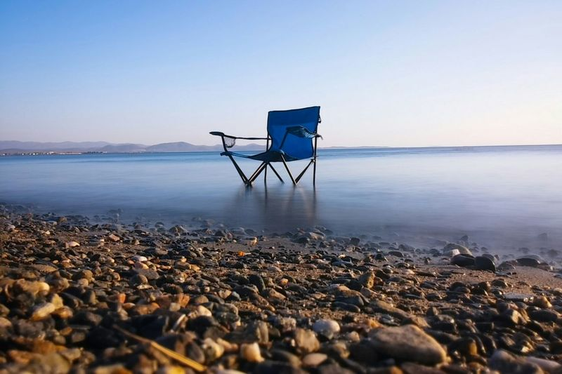 Long Exposure Sea Seaside Rocks Chair Amazing Blur