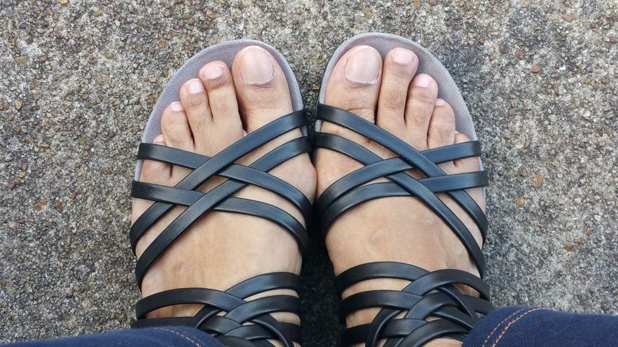 Summer feet Summer Road Tripping Low Section Standing Human Leg Directly Above Shoe High Angle View Personal Perspective Human Foot Close-up Sandal Footwear Human Feet