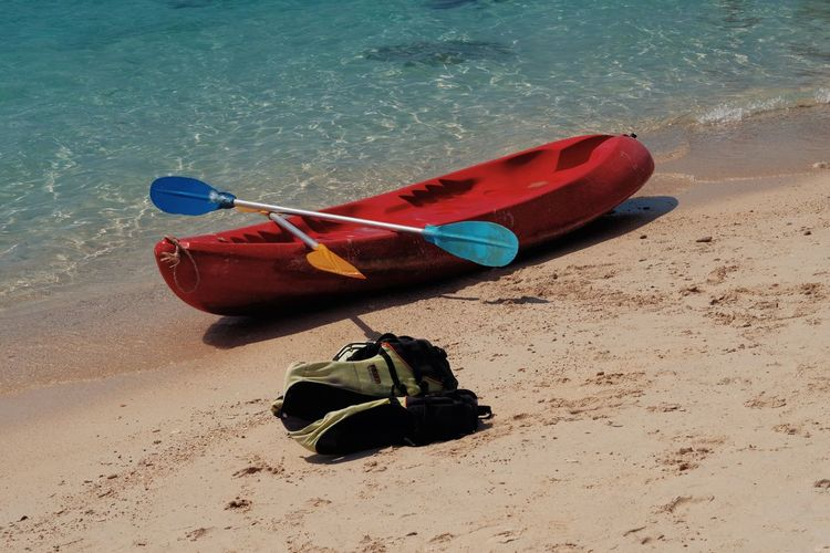 Adventure Beach Beauty In Nature Canoe Day Inflatable  Kayak Land Mode Of Transportation Moored Nature Nautical Vessel No People Oar Outdoors Sand Sea Tranquility Transportation Water
