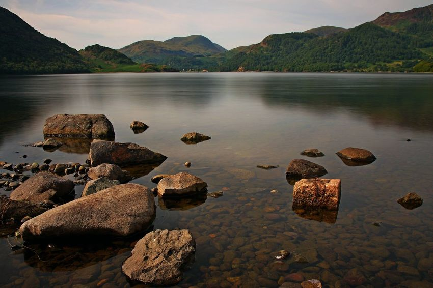 Ullswater Beauty In Nature Day Lake Long Exposure Mountain Nature No People Outdoors Pebble Reflection Rock Rock - Object Scenics - Nature Shallow Sky Solid Stone Stone - Object Tranquil Scene Tranquility Ullswater, Lake District, Water