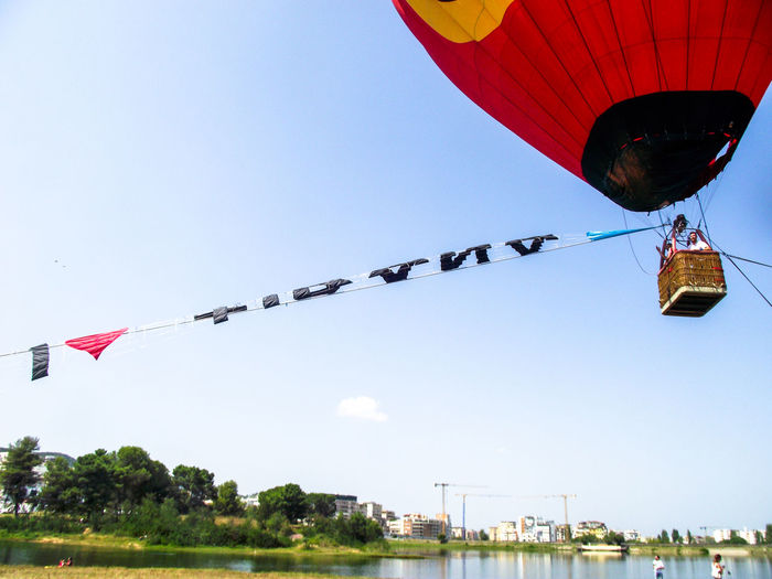 Flying High people and places Clear Sky I ❤️ Tirana Hot Air Balloon Flying Ballooning Festival Mid-air Air Vehicle Blue Sky Parachute Paragliding Extreme Sports Gliding Balloon Helium Balloon