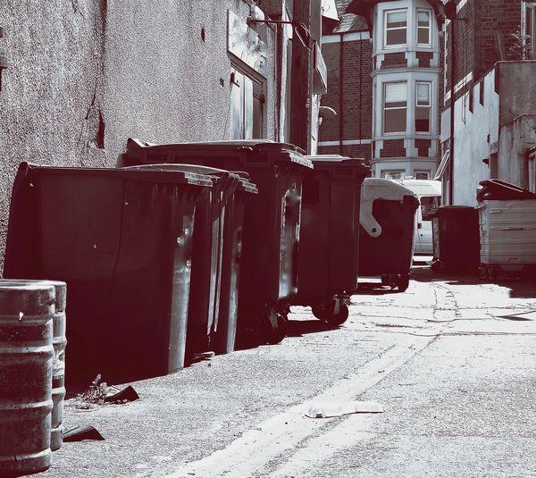 Bins and kegs. 10 of these left in a lane 10 Beer Kegs Rubbish Rubbish Bin Bin Recycle Lane Dispose Trash Trashcan EyeEmNewHere EyeEm Gallery Urban Urbanphotography