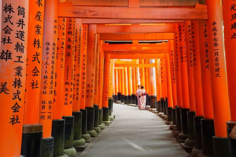 Geisha Geisha Girl Geisha Torii Gates Torii Gate TORII Tori Orange Color Full Length Real People The Way Forward Tourism Spirituality Travel Destinations Travel Architecture Religion Place Of Worship Architectural Column Shrine