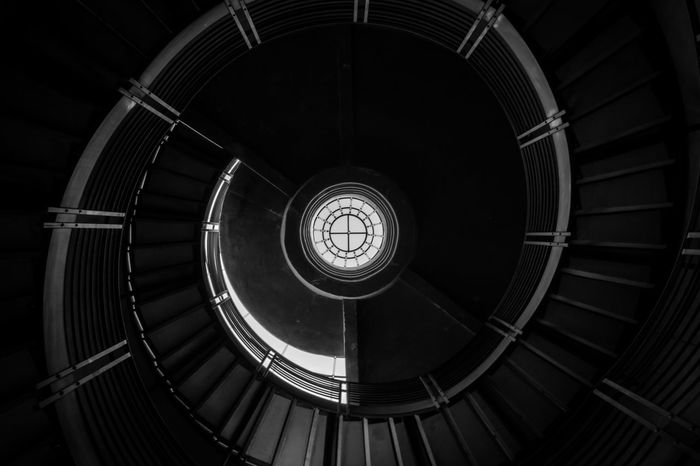 Composition Architecture Black And White Blackandwhite Built Structure Circle Contrast Day Geometric Shape Indoors  Light And Shadow No People Railing Spiral Spiral Stairs Staircase Stairs Steps Steps And Staircases The Graphic City