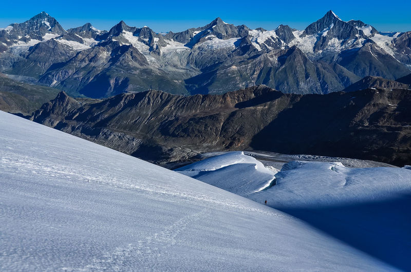 Epic Monte Rosa Mountaineering Adventure Alps Beauty In Nature Blue Cold Temperature Day Environment Landscape Mountain Mountain Peak Mountain Range Nature No People Non-urban Scene Scenics - Nature Sky Snow Snowcapped Mountain Tranquil Scene Tranquility White Color Winter