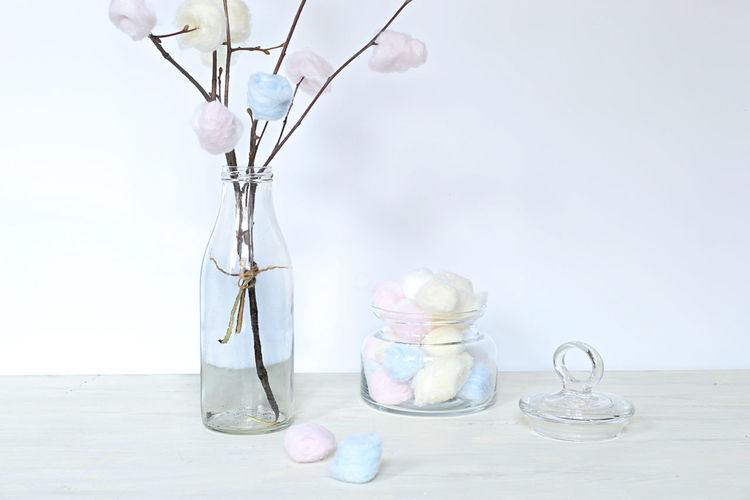 Cotton tree Cotton Tree Humor Mock-up Joke Cotton Ball Pastel Colours Spring Mood Indoors  White Backround No People Day Glass Bottle Tree Branches Break The Mold BYOPaper!