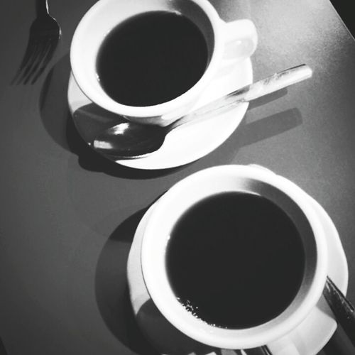 Cuban coffee after breakfast at Cafe Verde in Pasadena. If you're in L.A. their Cuban food is tops - must try. ^_^ Coffee Cup Saucer No People Black And White Photography Cafe Verde Close-up Cuban Spoons Angles Samsung Pasadena, CA From My Point Of View